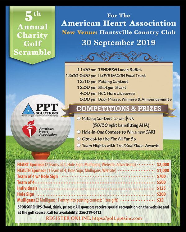 PPT Solutions and The American Heart Association Golf Tournament Flyer.
