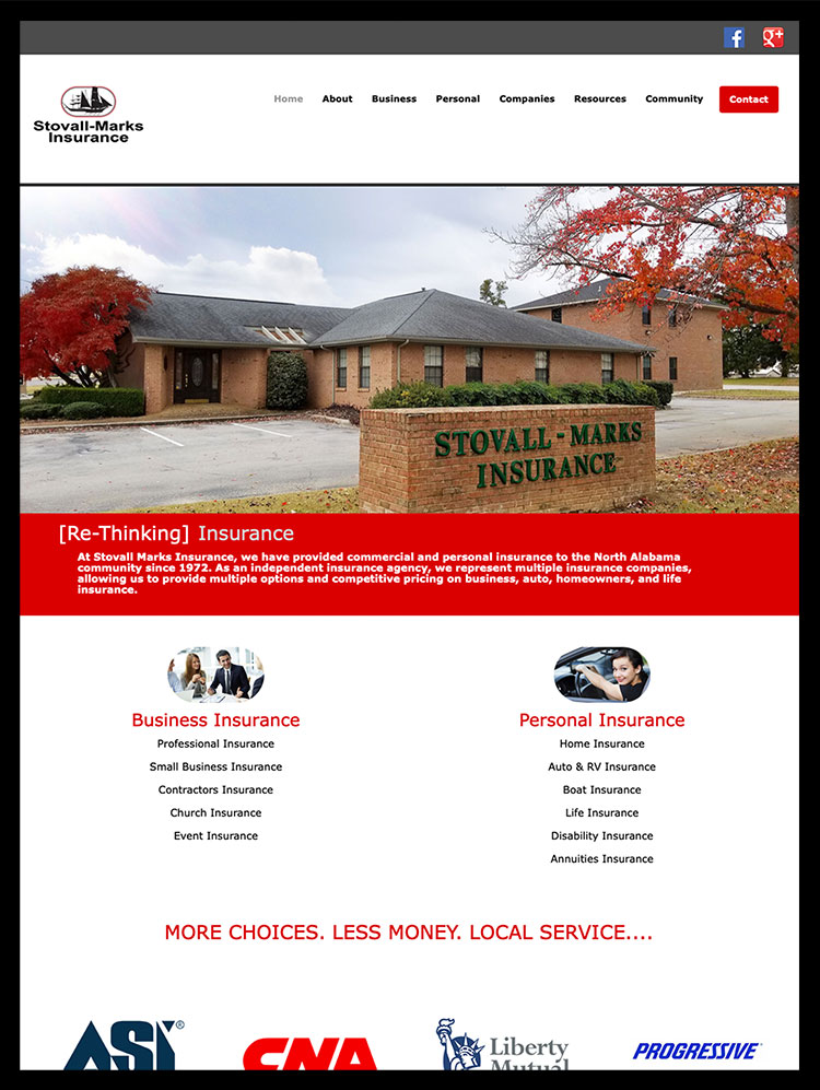 Stovall-Marks Insurance Company Website Design.