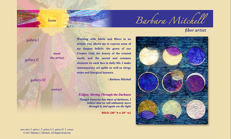 Barbara Mitchell Artist Website Design by Empty Tomb Graphics.