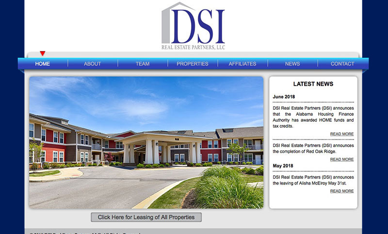 DSI Real Estate Partners Website Design by Empty Tomb Graphics.