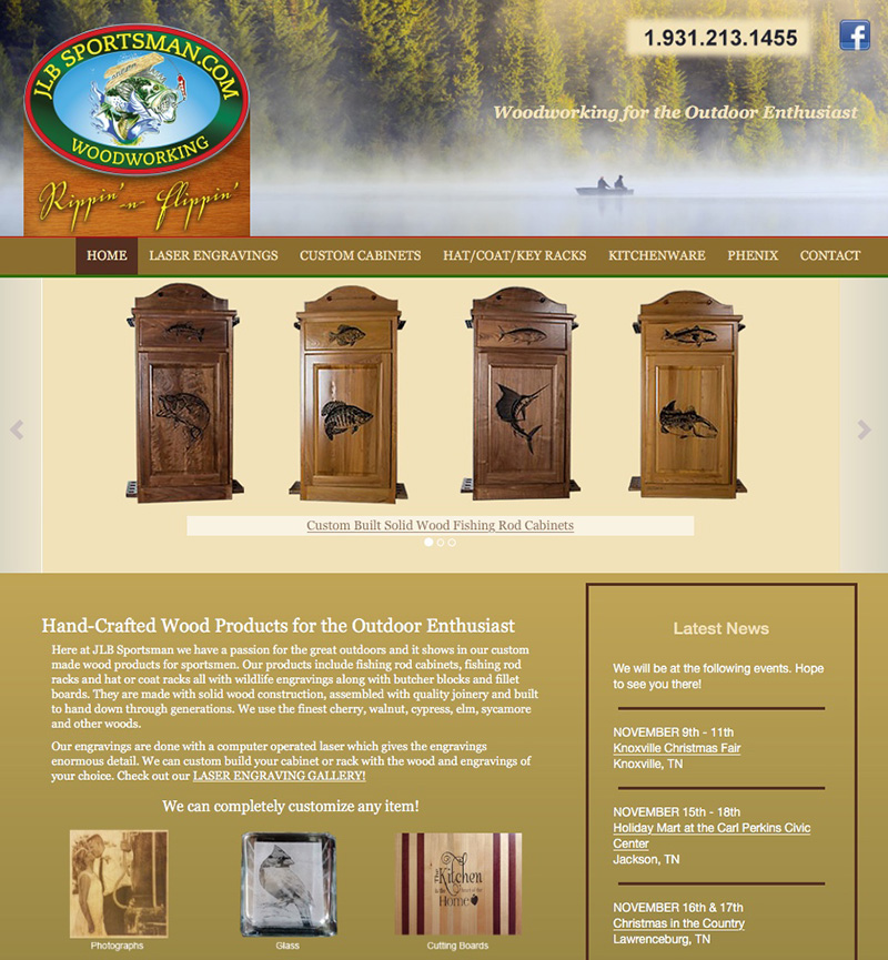 JLB Sportsman Woodworking Website Design by Empty Tomb Graphics.