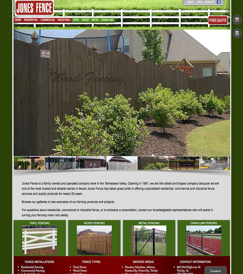 Jones Fence Website Design by Empty Tomb Graphics.
