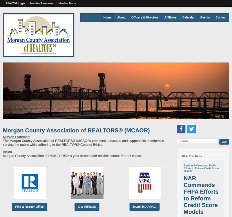 Morgan County Association of Realtors Website Design by Empty Tomb Graphics.