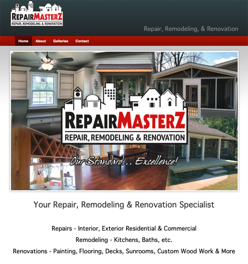 Repair Masterz -Repair, Remodel, & Renovate Website Design by Empty Tomb Graphics.