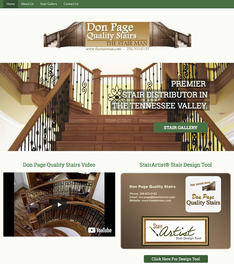 The Stair Man Website Design by Empty Tomb Graphics.